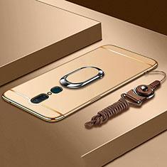 Custodia Lusso Metallo Laterale e Plastica Cover con Anello Supporto A01 per Oppo A9X Oro