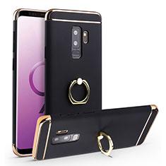 Custodia Lusso Metallo Laterale e Plastica Cover con Anello Supporto A01 per Samsung Galaxy S9 Plus Nero