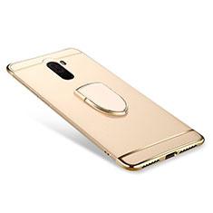 Custodia Lusso Metallo Laterale e Plastica Cover con Anello Supporto A01 per Xiaomi Pocophone F1 Oro