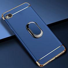 Custodia Lusso Metallo Laterale e Plastica Cover con Anello Supporto A01 per Xiaomi Redmi Go Blu