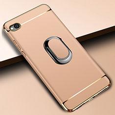 Custodia Lusso Metallo Laterale e Plastica Cover con Anello Supporto A01 per Xiaomi Redmi Go Oro