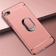 Custodia Lusso Metallo Laterale e Plastica Cover con Anello Supporto A01 per Xiaomi Redmi Go Oro Rosa