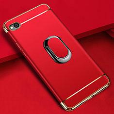 Custodia Lusso Metallo Laterale e Plastica Cover con Anello Supporto A01 per Xiaomi Redmi Go Rosso