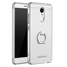 Custodia Lusso Metallo Laterale e Plastica Cover con Anello Supporto A01 per Xiaomi Redmi Note 3 Argento