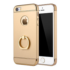 Custodia Lusso Metallo Laterale e Plastica Cover con Anello Supporto A02 per Apple iPhone 5 Oro