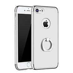 Custodia Lusso Metallo Laterale e Plastica Cover con Anello Supporto A02 per Apple iPhone 7 Argento