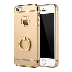 Custodia Lusso Metallo Laterale e Plastica Cover con Anello Supporto A02 per Apple iPhone SE Oro