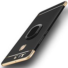 Custodia Lusso Metallo Laterale e Plastica Cover con Anello Supporto A02 per Huawei P9 Nero