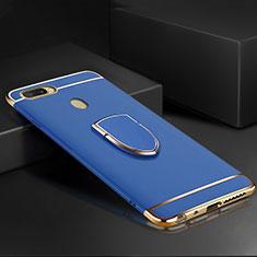 Custodia Lusso Metallo Laterale e Plastica Cover con Anello Supporto A02 per Oppo A7 Blu