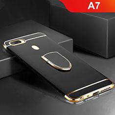 Custodia Lusso Metallo Laterale e Plastica Cover con Anello Supporto A02 per Oppo A7 Nero
