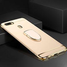 Custodia Lusso Metallo Laterale e Plastica Cover con Anello Supporto A02 per Oppo A7 Oro