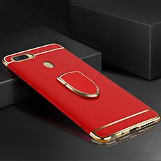 Custodia Lusso Metallo Laterale e Plastica Cover con Anello Supporto A02 per Oppo A7 Rosso