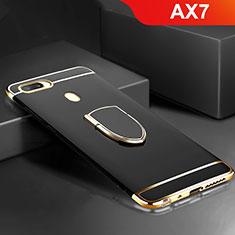 Custodia Lusso Metallo Laterale e Plastica Cover con Anello Supporto A02 per Oppo AX7 Nero