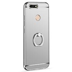 Custodia Lusso Metallo Laterale e Plastica Cover con Anello Supporto A06 per Huawei P9 Lite Mini Argento