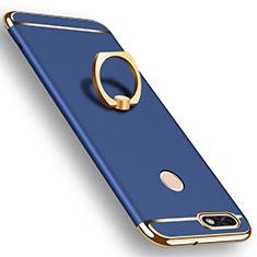 Custodia Lusso Metallo Laterale e Plastica Cover con Anello Supporto A06 per Huawei P9 Lite Mini Blu