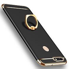 Custodia Lusso Metallo Laterale e Plastica Cover con Anello Supporto A06 per Huawei P9 Lite Mini Nero