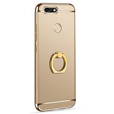 Custodia Lusso Metallo Laterale e Plastica Cover con Anello Supporto A06 per Huawei P9 Lite Mini Oro