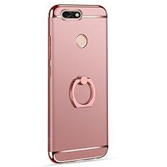 Custodia Lusso Metallo Laterale e Plastica Cover con Anello Supporto A06 per Huawei P9 Lite Mini Oro Rosa