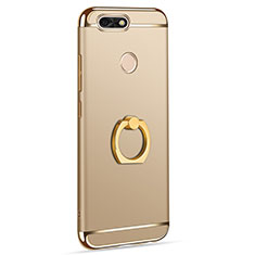Custodia Lusso Metallo Laterale e Plastica Cover con Anello Supporto A06 per Huawei Y6 Pro (2017) Oro
