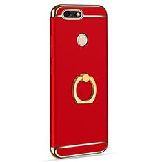 Custodia Lusso Metallo Laterale e Plastica Cover con Anello Supporto A06 per Huawei Y6 Pro (2017) Rosso