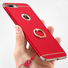 Custodia Lusso Metallo Laterale e Plastica Cover con Anello Supporto e Cordoncino A01 per Apple iPhone 8 Plus Rosso