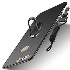 Custodia Lusso Metallo Laterale e Plastica Cover con Anello Supporto e Cordoncino A01 per Huawei Honor 8 Nero
