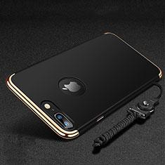 Custodia Lusso Metallo Laterale e Plastica Cover con Anello Supporto e Cordoncino per Apple iPhone 8 Plus Nero