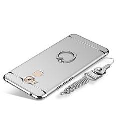 Custodia Lusso Metallo Laterale e Plastica Cover con Anello Supporto e Cordoncino per Huawei Enjoy 6S Argento