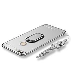 Custodia Lusso Metallo Laterale e Plastica Cover con Anello Supporto e Cordoncino per Huawei Enjoy 7S Argento