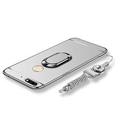 Custodia Lusso Metallo Laterale e Plastica Cover con Anello Supporto e Cordoncino per Huawei Enjoy 8 Argento