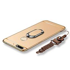 Custodia Lusso Metallo Laterale e Plastica Cover con Anello Supporto e Cordoncino per Huawei Enjoy 8 Oro