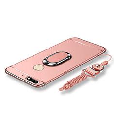 Custodia Lusso Metallo Laterale e Plastica Cover con Anello Supporto e Cordoncino per Huawei Enjoy 8 Oro Rosa