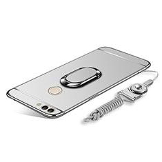 Custodia Lusso Metallo Laterale e Plastica Cover con Anello Supporto e Cordoncino per Huawei Enjoy 8 Plus Argento
