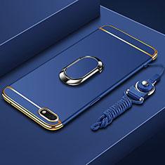 Custodia Lusso Metallo Laterale e Plastica Cover con Anello Supporto e Cordoncino per Huawei Enjoy 8e Lite Blu