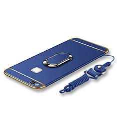 Custodia Lusso Metallo Laterale e Plastica Cover con Anello Supporto e Cordoncino per Huawei G9 Lite Blu