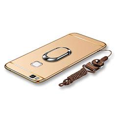 Custodia Lusso Metallo Laterale e Plastica Cover con Anello Supporto e Cordoncino per Huawei G9 Lite Oro