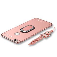 Custodia Lusso Metallo Laterale e Plastica Cover con Anello Supporto e Cordoncino per Huawei G9 Lite Oro Rosa