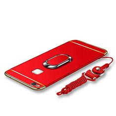 Custodia Lusso Metallo Laterale e Plastica Cover con Anello Supporto e Cordoncino per Huawei G9 Lite Rosso