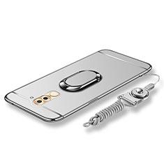 Custodia Lusso Metallo Laterale e Plastica Cover con Anello Supporto e Cordoncino per Huawei GR5 (2017) Argento
