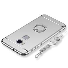 Custodia Lusso Metallo Laterale e Plastica Cover con Anello Supporto e Cordoncino per Huawei GR5 Argento