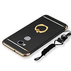 Custodia Lusso Metallo Laterale e Plastica Cover con Anello Supporto e Cordoncino per Huawei GR5 Nero