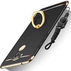 Custodia Lusso Metallo Laterale e Plastica Cover con Anello Supporto e Cordoncino per Huawei Honor 6A Nero