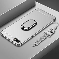 Custodia Lusso Metallo Laterale e Plastica Cover con Anello Supporto e Cordoncino per Huawei Honor 7S Argento