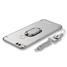 Custodia Lusso Metallo Laterale e Plastica Cover con Anello Supporto e Cordoncino per Huawei Honor 7X Argento