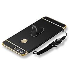 Custodia Lusso Metallo Laterale e Plastica Cover con Anello Supporto e Cordoncino per Huawei Honor 8 Nero