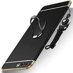 Custodia Lusso Metallo Laterale e Plastica Cover con Anello Supporto e Cordoncino per Huawei Honor 9 Premium Nero