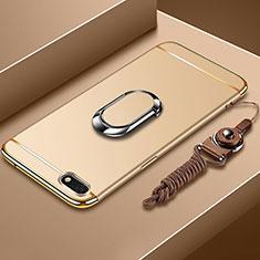 Custodia Lusso Metallo Laterale e Plastica Cover con Anello Supporto e Cordoncino per Huawei Honor Play 7 Oro