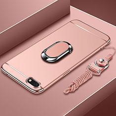 Custodia Lusso Metallo Laterale e Plastica Cover con Anello Supporto e Cordoncino per Huawei Honor Play 7 Oro Rosa