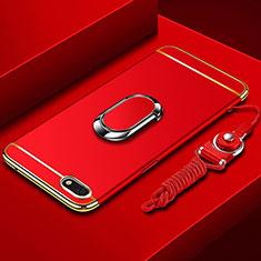 Custodia Lusso Metallo Laterale e Plastica Cover con Anello Supporto e Cordoncino per Huawei Honor Play 7 Rosso