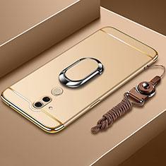Custodia Lusso Metallo Laterale e Plastica Cover con Anello Supporto e Cordoncino per Huawei Mate 20 Lite Oro